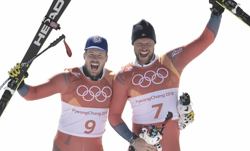 JUBELBRØL: Aksel Lund Svindal og Kjetil Jansrud tok gull og sølv under torsdagens utforrenn. Foto: Hans Arne Vedlog / Dagbladet.