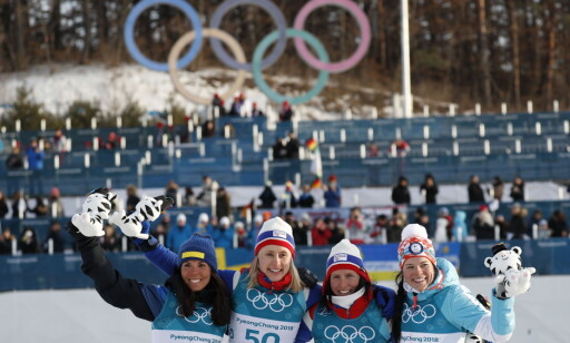 FIRE PÅ PALLEN: Ragnhild Haga vant OL-gullet foran Charlotte Kalla, Marit Bjørgen og Krista Pärmäkoski. Foto: Bjørn Langsem / Dagbladet