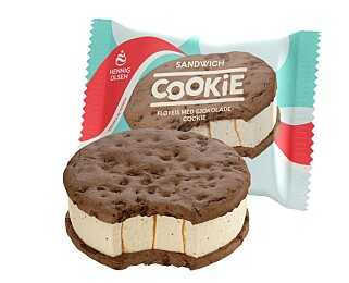 ISKREMSANDWICH: I litt mindre størrelse med sjokoladekjeks fra Hennig-Olsen.