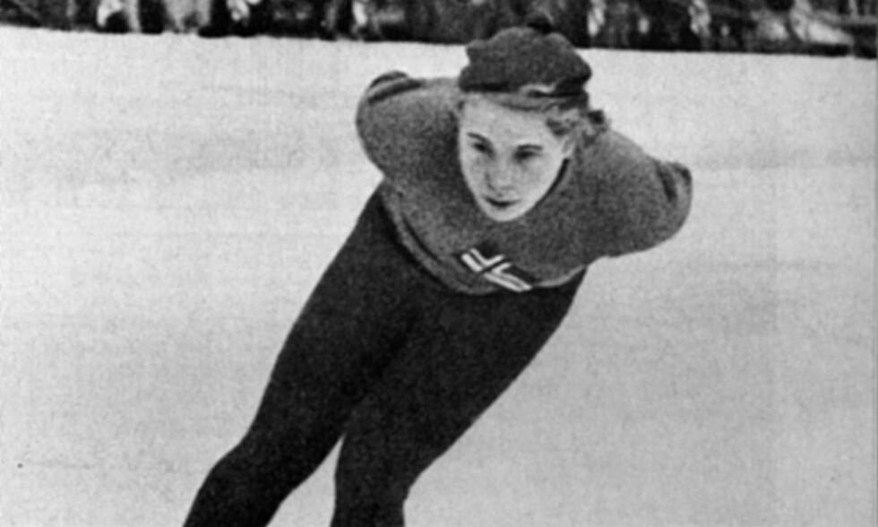 GULLDAME: Laila Schou Nilsen vant to gull og satte fire verdensrekorder i VM i Davos i 1937. Foto: NTB Scanpix