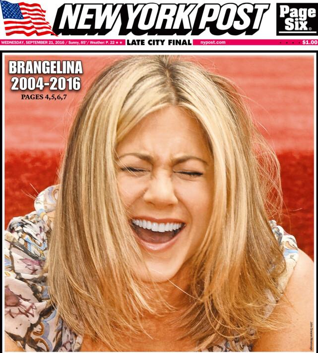 FÅR IKKE FRED: Avisa New York Post omtalte bruddet mellom Brad Pitt og Angelina Jolie ved å bruke et bilde av en svært fornøyd Jennifer Aniston på forsiden. Foto: NTB scanpix
