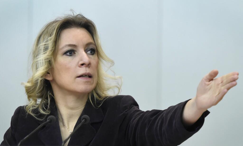 SVARER: Maria Zakharova, det russiske utenriksdepartementets talsperson tar til motmæle mot anklagene fra USA. Foto: Scanpix