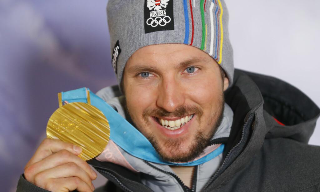 ETTERLENGTET OL-GULL: Marcel Hirscher har vunnet verdenscupen sammenlagt fem år på rad, men OL-gull hadde han ikke før superkombinasjonen. Henrik Kristoffer forteller at det ikke letter på presset for østerrikeren. Foto: NTB Scanpix