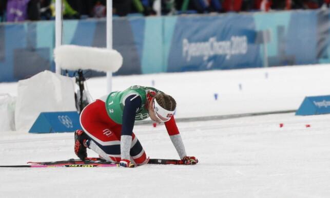TUNGT Å REISE SEG: Uhrenholdt Jacobsen ble liggende lenge på baken før hun klarte å reise seg etter etappen.