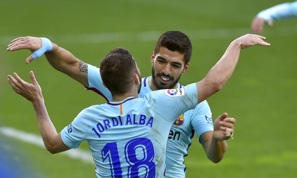 NY SEIER: Luis Suárez og Jordi Alba ordnet målene da Barcelona slo Eibar 2-0 på bortebane i La Liga. Foto: AFP PHOTO / ANDER GILLENEA / NTB Scanpix