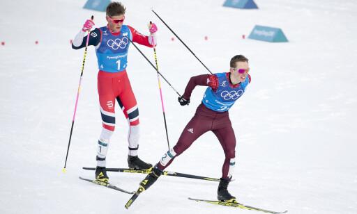 HEVN: Denis Spitsov og russerne varsler revansje på lagsprinten mot Johannes Høsflot Klæbo og Norge. Foto: Bjørn Langsem / Dagbladet