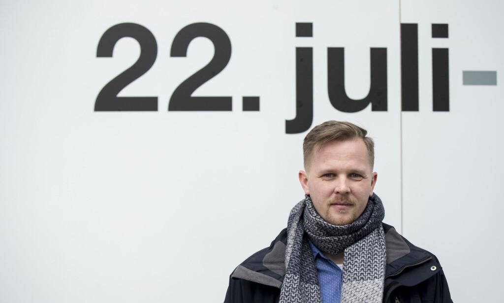SPEKULATIVT: Utøya-overlevende Kent Rune Pedersen er svært skeptisk til Erik Poppes Utøya-film, som han mener for ensidig synes å ha fokus på dramatikken på øya. Her foran 22. juli-senteret i Oslo. Foto: Vidar Ruud / NTB scanpix