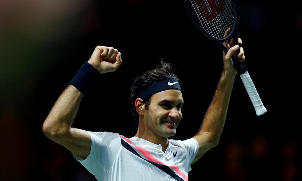 SEIER: Roger Federer kunne juble etter å ha slått Grigor Dimitrov i Rotterdam Open. Foto: REUTERS/Michael Kooren/NTB Scanpix