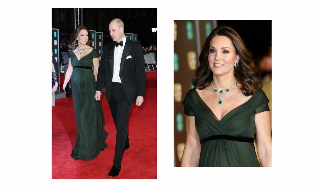 <strong>HERTUGINNE KATE BAFTA:</strong> 18. februar var det duket for glitter og glamour da hertuginne Kate og prins William deltok på BAFTA-utdelingen i Royal Albert Hall i London. I motsetning til de fleste andre stilte hertuginnen i en kjole med farge under tilstelningen. Foto: NTB Scanpix