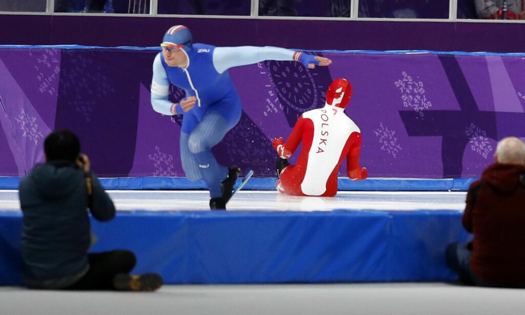 RETT UT: Artur Nogal mener selv at han var en av medaljekandidatene i mandagens 500 meter. Løpet ble spolert i første sekund. Foto: NTB Scanpix