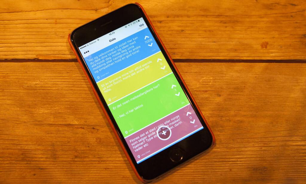 JODEL: Appen Jodel gjør det mulig å kommunisere anonymt. Foto: Marianne Løvland / NTB scanpix.