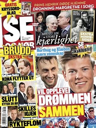 I SALG: Det er i den nyeste utgaven at Se og Hør melder om bruddet mellom Frank Løke og kona. Foto: Faksimile / Se og Hør