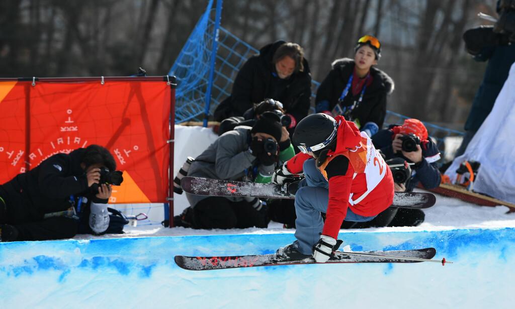 FIKK OPPFYLT DRØMMEN: Elizabeth Swaney i aksjon under gårsdagens konkurranse. Foto: NTB Scanpix