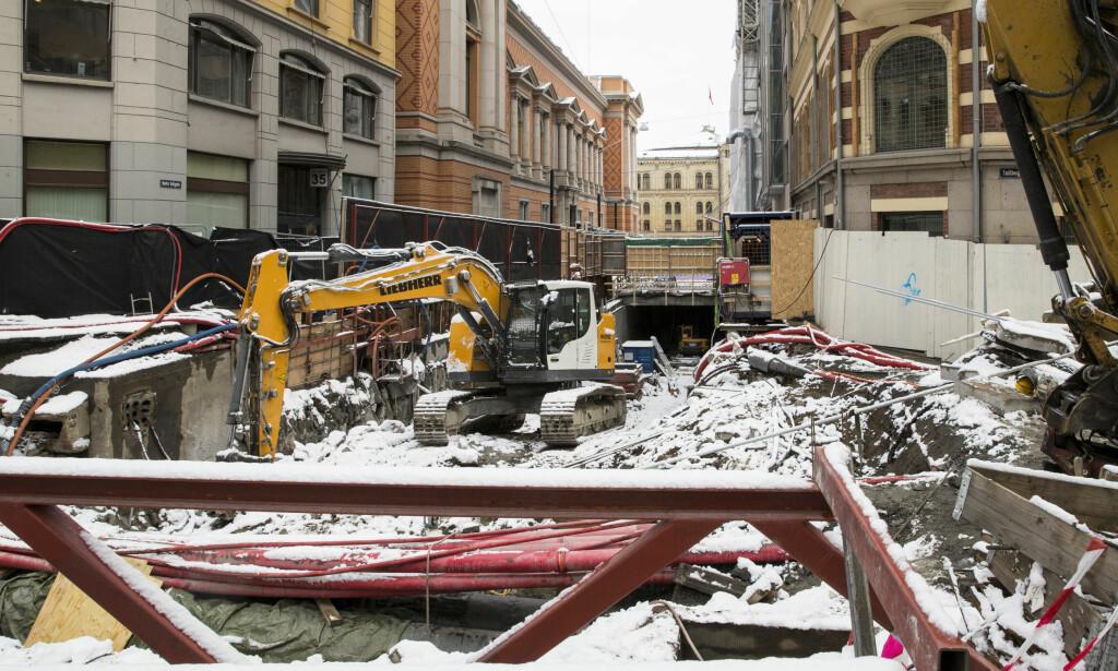OMSTRIDT: Dette er byggeprosjektet utenfor Stortinget. Foto: Vidar Ruud / NTB scanpix