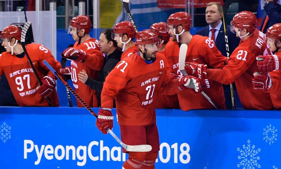 RUSSISK LEGENDE: Ilja Kovaltsjuk er en av 15 spillere på det russiske laget som til daglig spiller sammen med norske Patrick Thoresen i SKA St. Petersburg. Kovaltsjuk spiller i rekke sammen med Thoresen i Russland, og den tidligere NHL-legenden er full av lovord om Norges største stjerne. Foto: Brendan Smialowski / AFP / NTB Scanpix