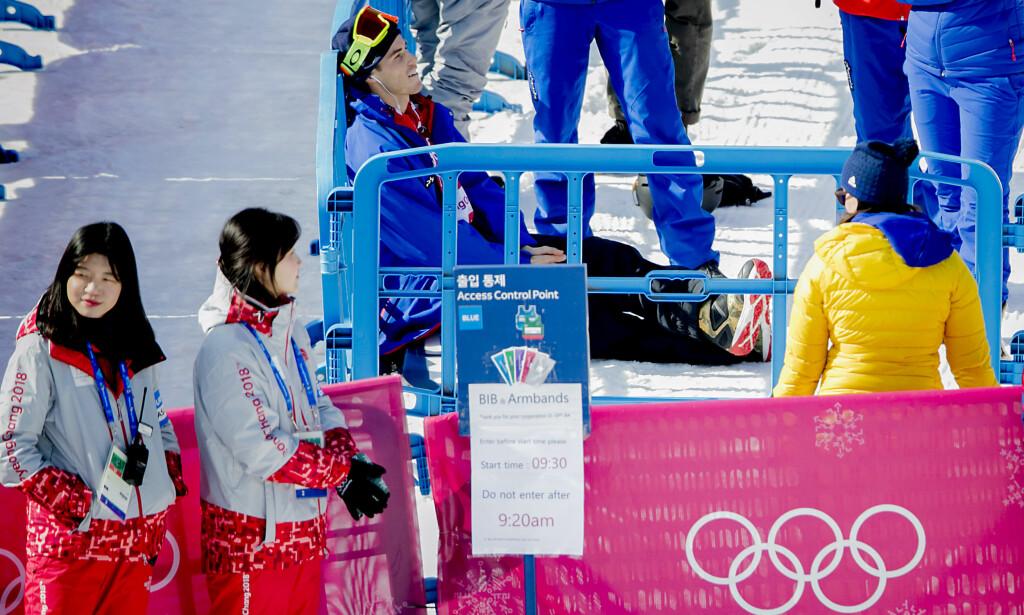 BITTERT: Her sitter Ståle Sandbech og innser at finaledrømmen i tidenes første Big Air-finale i OL røyk. Foto: Bjørn Langsem/Dagbladet.