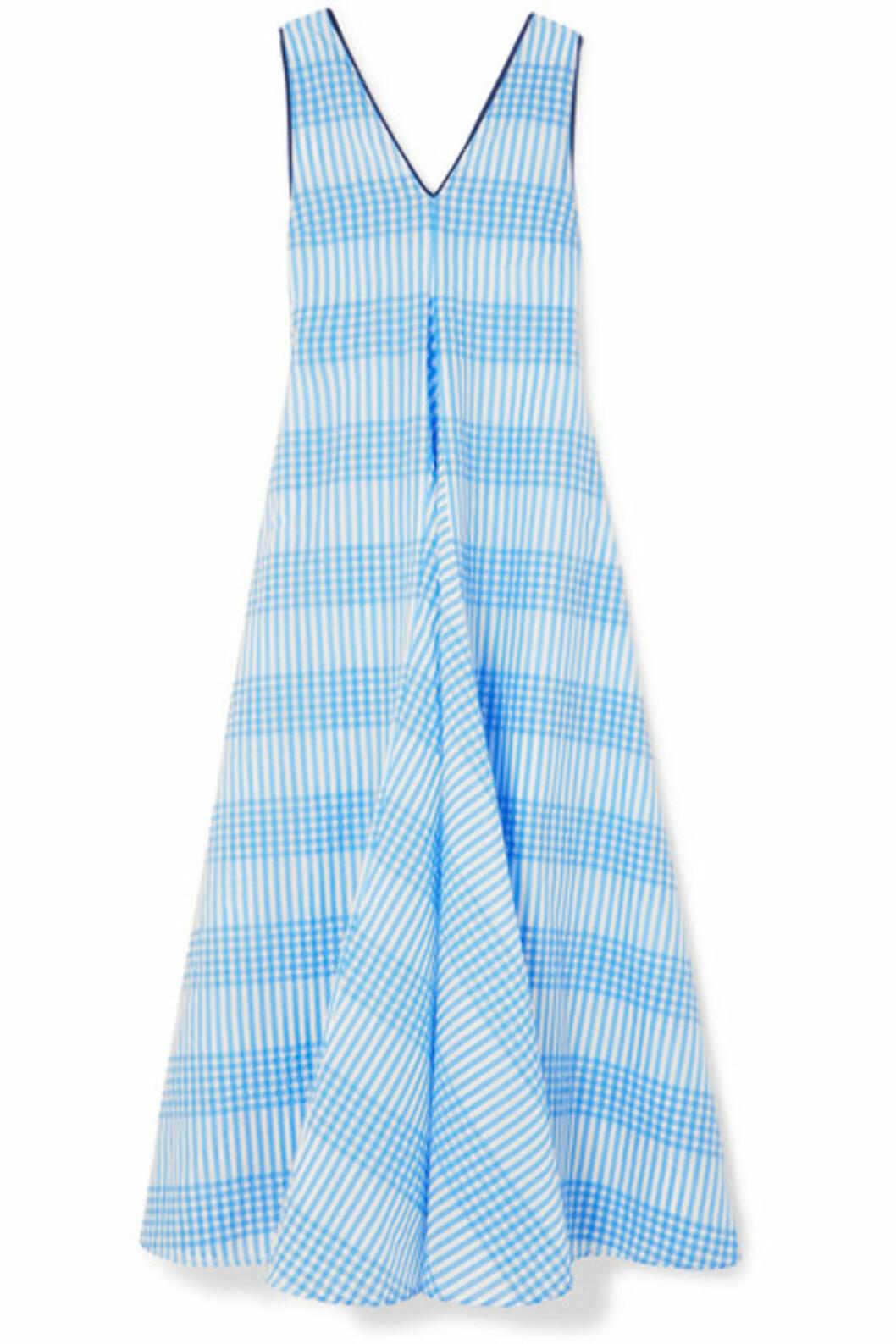 <strong>Kjole fra Ganni |2320,-| https:</strong>//www.net-a-porter.com/no/en/product/1029836/ganni/charron-checked-cotton-blend-seersucker-maxi-dress