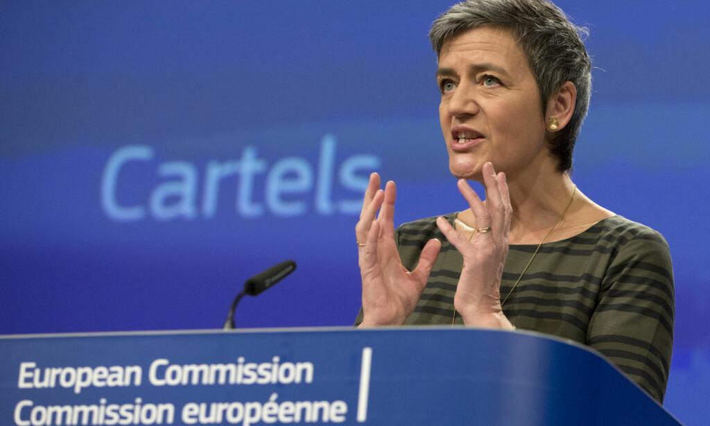 ULOVLIG: De fem rederiene drev med kartellvirksomhet, fastslår EU-kommisjonen, her representert ved Margrethe Vestager. Foto: AP