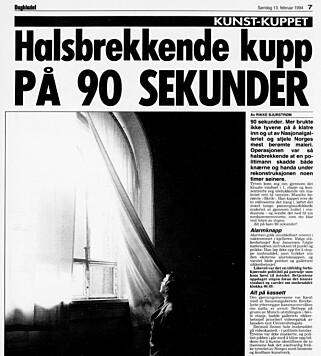 MEDIEDEKNING: Tyveriet av maleriet ble tett dekket av medier fra hele verden. Faksimile: Dagbladet.