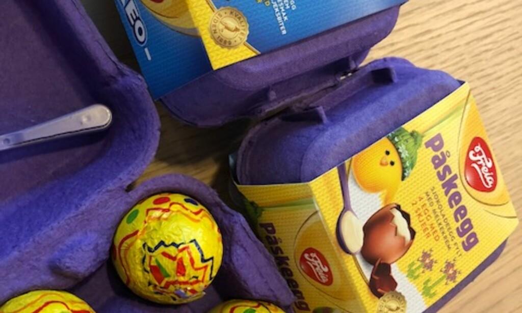 ALLEREDE PÅ PLASS: Det nye Oreo-egget fra Freia er allerede på plass i en rekke butikker. Foto: Lars O Gulbrandsen