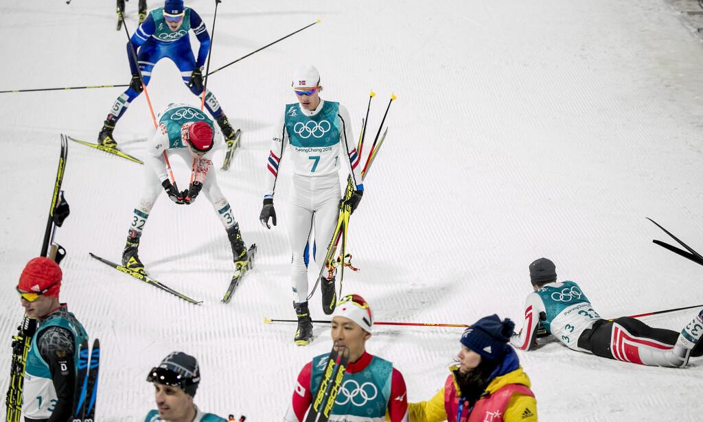 TOK IKKE SJANSEN: Espen Andersen og kombinertgutta våget ikke å følge Tysklands tempo i lagkonkurransen. Var det egentlig smart? FOTO: Bjørn Langsem/Dagbladet.