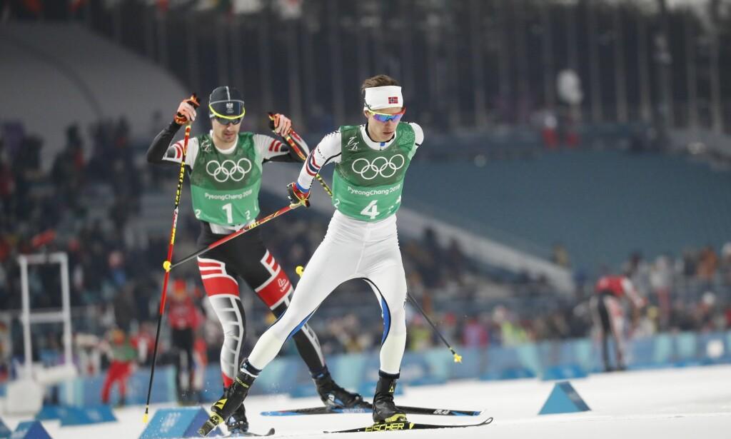 DUELL: Espen Andersen gikk andreetappe mot østerrikeren Lukas Klapfer. Men han ønsket ikke å dra, slik at duoen kunne nærme seg Tyskland. FOTO: BJØRN LANGSEM / DAGBLADET