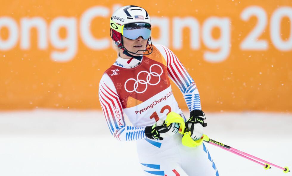 VONNT IKKE: Lindsey Vonn jaktet en siste seier i OL, men den amerikanske stjerna kjørte ut i slalåmdelen av alpinkombinasjonen, og kom fullførte ikke det smo trolig var hennes siste start i OL-sammenheng. Foto: Lise Åserud / NTB Scanpix