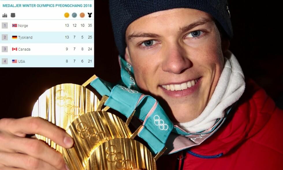 GULLSAMLING: Johannes Høsflot Klæbo har bidratt stort til den norske medaljerekorden i OL. Foto: Lise Åserud/NTB scanpix