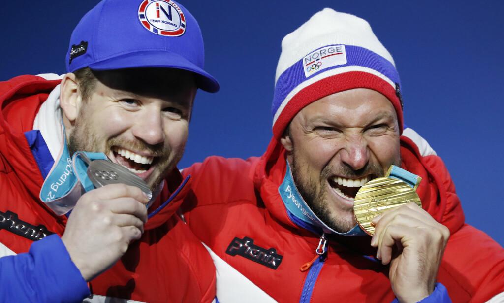 MEDALJERUSH: Kjetil Jansrud og Aksel Lund Svindal sto for to av de norske medaljene i utfor. Foto: Cornelius Poppe / NTB scanpix