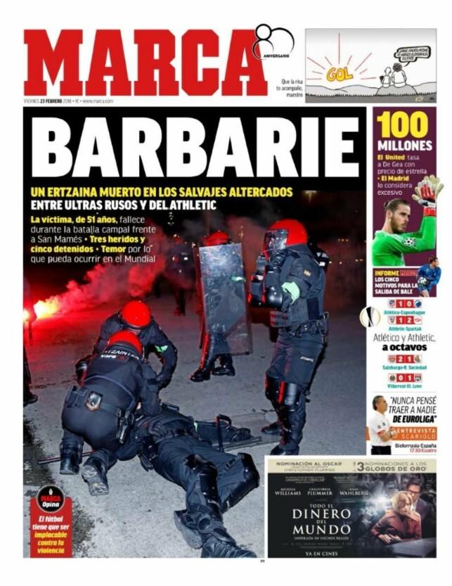 image: Spansk fotball rystet: Politimann døde under opptøyer