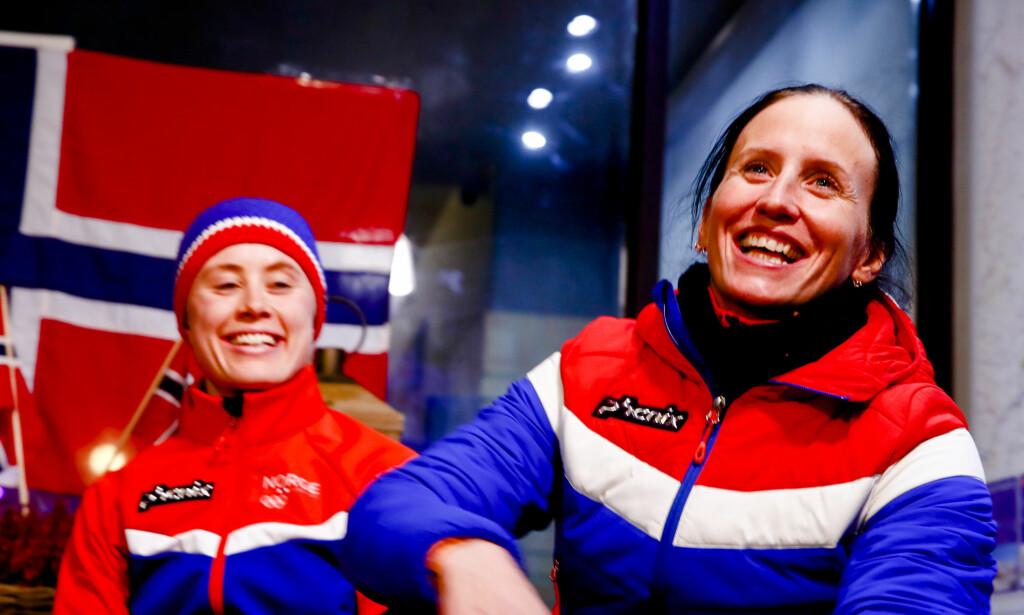 ET LØP FOR HISTORIEBØKENE: Søndag kan Marit Bjørgen blir historisk som tidenes største vinterolympiske gullvinner. Om da ikke Ragnhild Haga eller noen andre hindrer det. Foto: NTB Scanpix