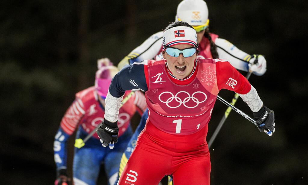 GULLJAKT: Marit Bjørgen fikk OL-gull på stafetten, men manger den individuelle triumfen som gjør henne historisk. Søndag har hun sin siste sjanse. Foto: Hans Arne Vedlog