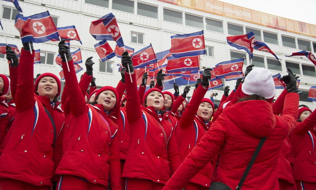 HEIAGJENG: En heiagjeng fra Nord Korea på plass i alpinbakken i Pyeonchang.  Foto: Hans Arne Vedlog / Dagbladet