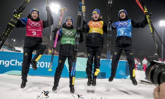 BANKET NORGE: De svenske stafettgutta banket Norge på dagens skiskytterstafett OL.