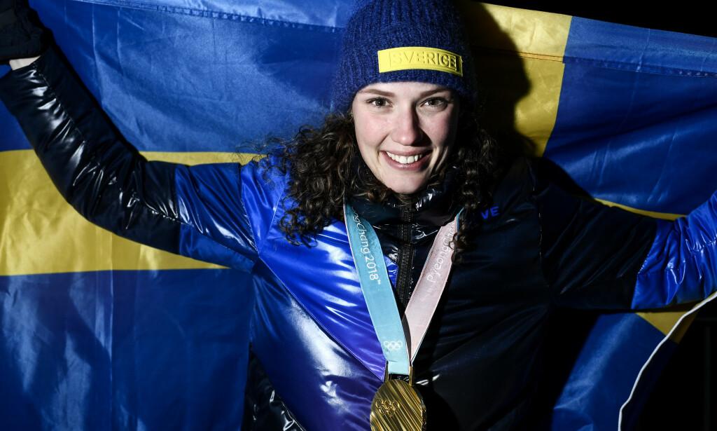 GULLGATE: Hanna Öberg er en av grunnene til Sveriges medaljefangst i Pyeongchang. Nå kan hun få sin egen gate i hjembyen. Foto: NTB Scanpix / Pontus Lundahl / TT