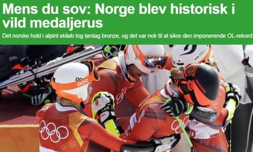 Danmark er ingen vinternasjon, men har fått med seg Norges rekord. Foto: Skjermdump Ekstra Bladet