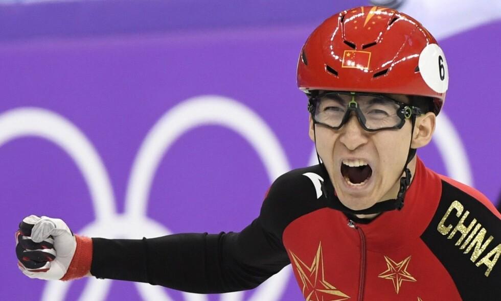 ENESTE: Wu Dajing har tatt Kinas foreløpig eneste gull i Pyeongchang. Det synes kineserne er suspekt, og dommerne får skylda. Foto: THE CANADIAN PRESS / Paul Chiasson / NTB Scanpix