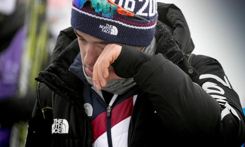 TÅRER: Hjemmehåpet Magnus Kim, eller Magnus Bø som det står i det norske passet, klarte ikke å holde tårene unna etter femmila. Foto: Bjørn Langsem / Dagbladet