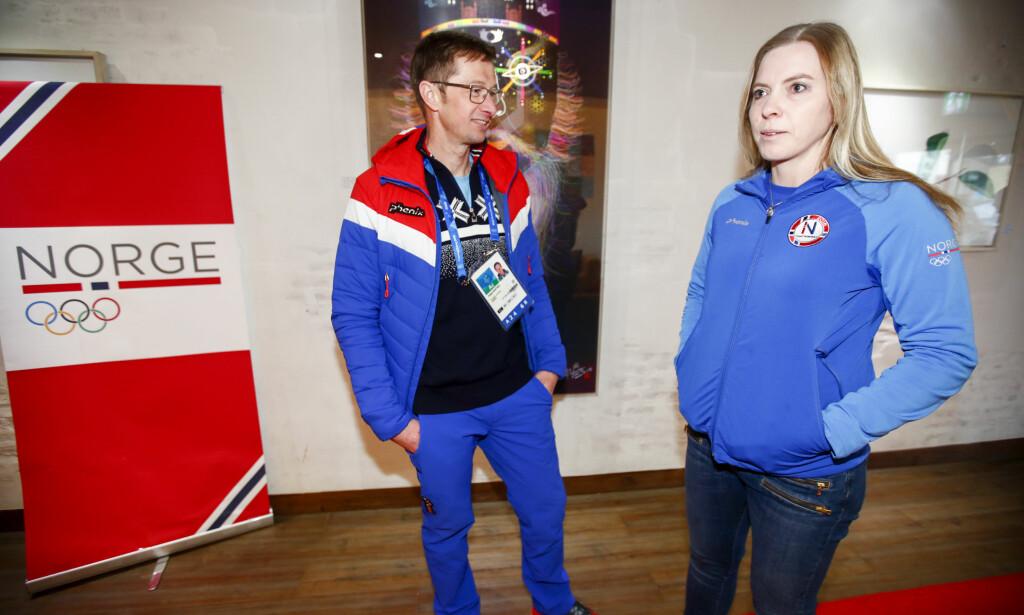 LEIRSJEF: Else-Marthe Sørlie Lybekk. Her sammen med vinteridrettsjef Helge Bartnes. Foto: Terje Pedersen / NTB scanpix
