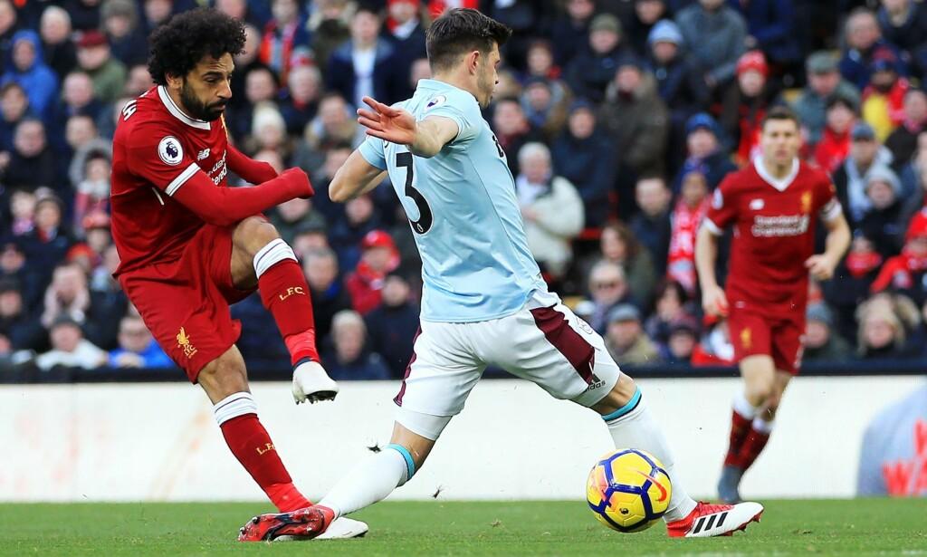 USTOPPELIG. Mohamed Salah scoret sitt 23. ligamål for sesongen da Liverpool knuste West Ham på Anfield. Foto: Matt McNulty/JMP/NTB Scanpix