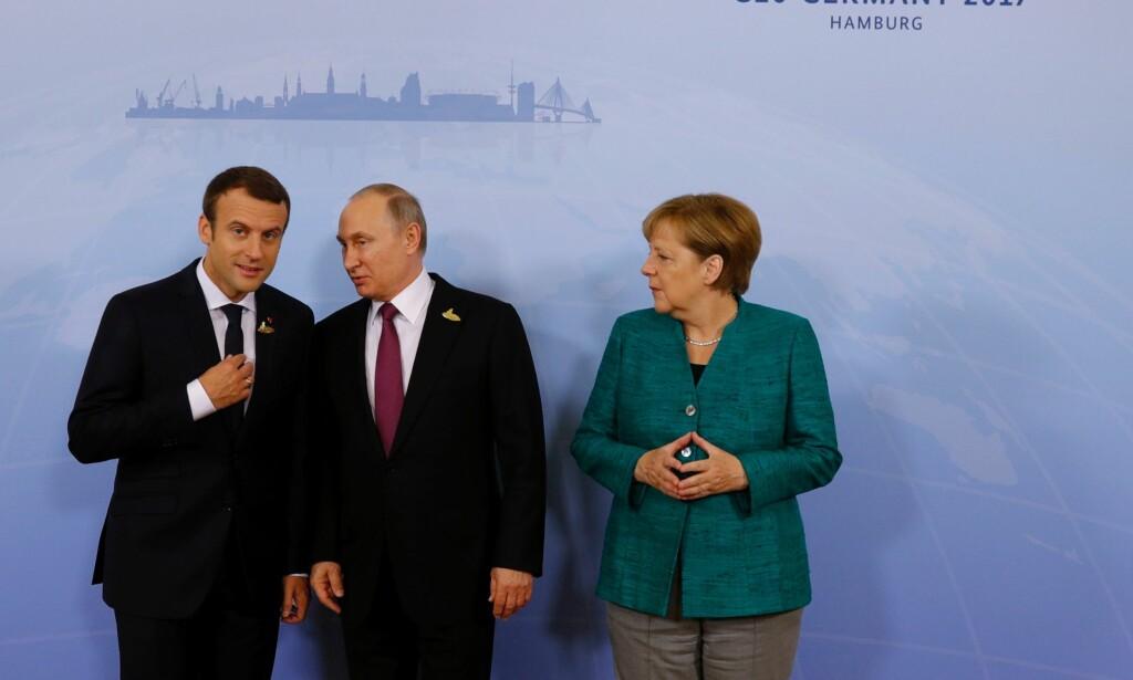 Tysklands statsminister Angela Merkel og Frankrikes president Emmanuel Macron skal søndag møte Russlands president Vladimir Putin. Sammen skal de diskutere hvordan en våpenhvile i Syria skal virkeliggjøres. Foto: NTB scanpix