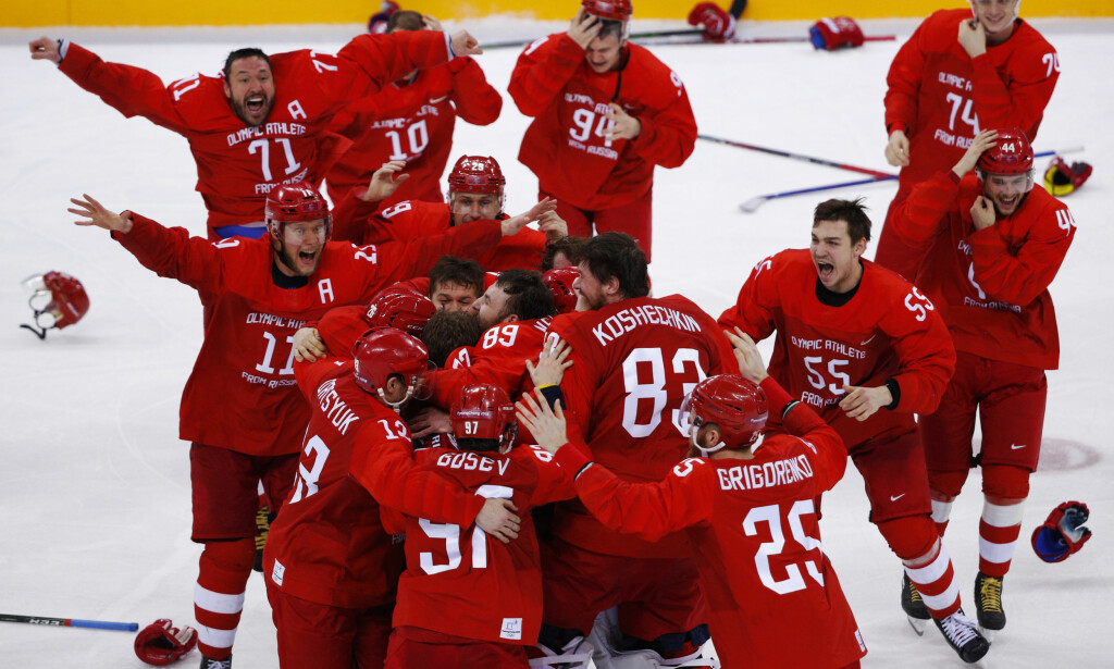 JUBEL: De russiske spillerne tok gull i hockey-OL. Foto: NTB Scanpix
