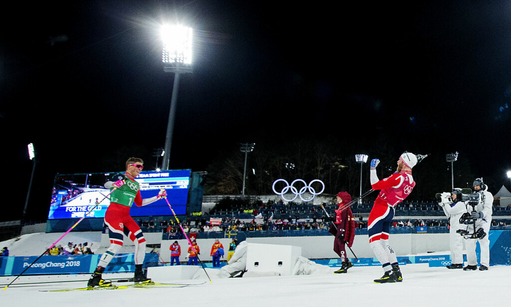 GULLGUTTA: Johannes Høsflot Klæbo og Martin Johnsrud Sundby vant OL-gull i lagsprint. Foto: Bjørn Langsem/Dagbladet