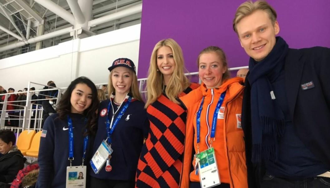 <strong>MØTTE PRESIDENTDATTEREN:</strong> Håvard Holmefjord Lorentzen var blant VIP-gjestene under OLs siste skøyteøvelse. der fikk han møte Ivanka Trump. Foto: Ivanka Trump/Twitter