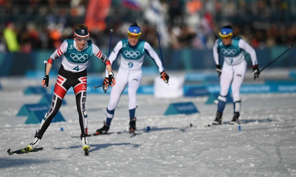 MARERITTET: To ganger gikk Teresa Stadlober feil på OL-tremila. Dermed glapp medaljen hun var på vei til. Foto: AFP PHOTO / FRANCK FIFE