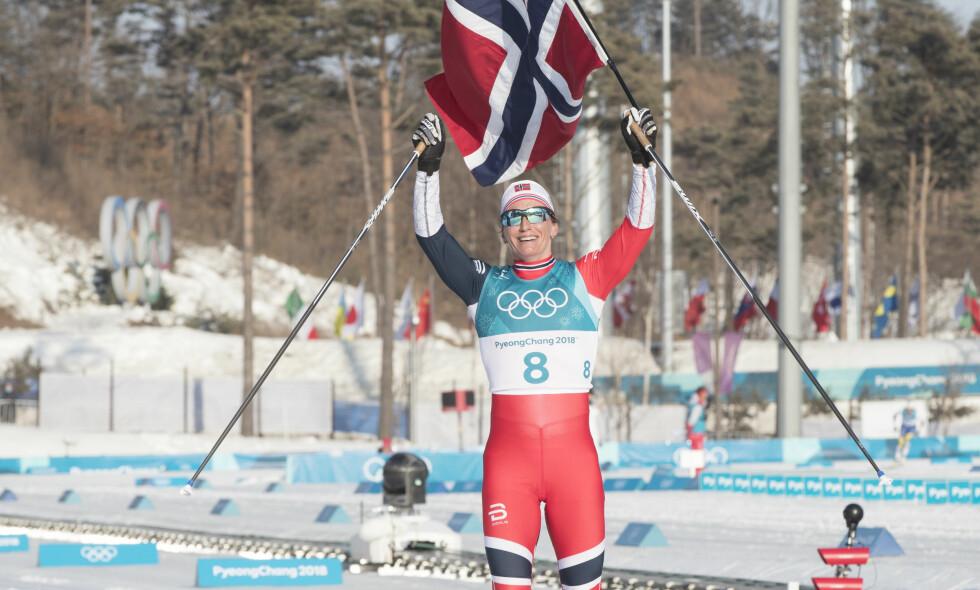 HISTORISK: Marit Bjørgen var overlegen i OLs avslutningsdistanse, og sikret gull i tremila søndag formiddag. Foto: Terje Pedersen / NTB Scanpix