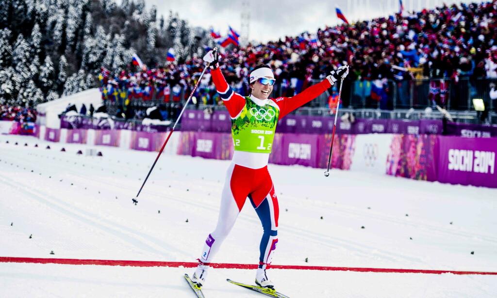 GULL-BJØRGEN: Her går Marit Bjørgen inn til gull på lagsprinten under OL i Sotsji. Foto: Thomas Rasmus Skaug/Dagbladet
