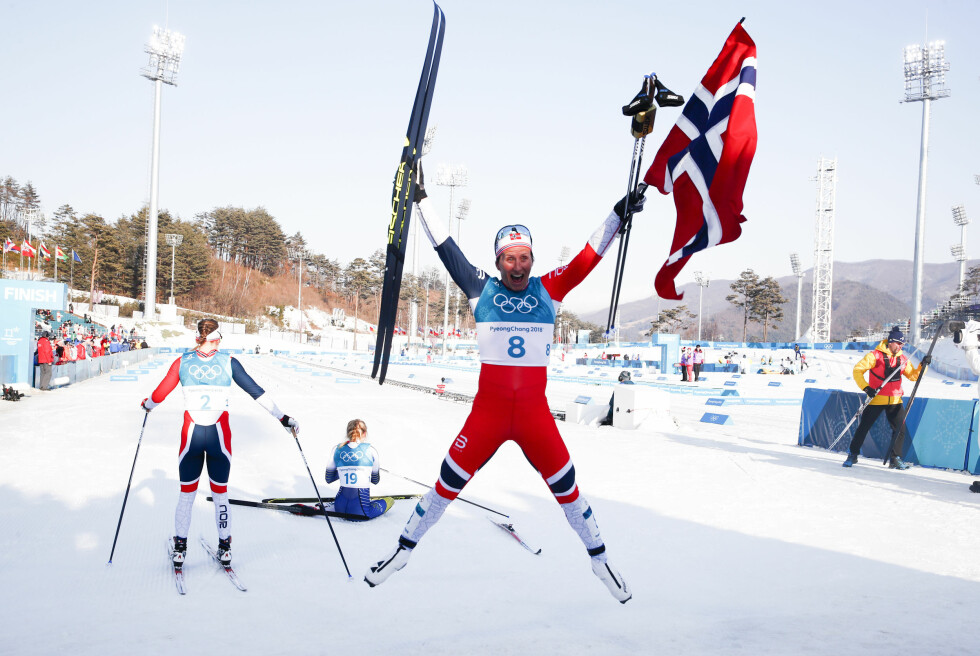 HISTORISK: Marit Bjørgen avsluttet sin olympiske karriere med soleklart gull på tremila og ble historisk. Foto: Terje Pedersen / NTB Scanpix