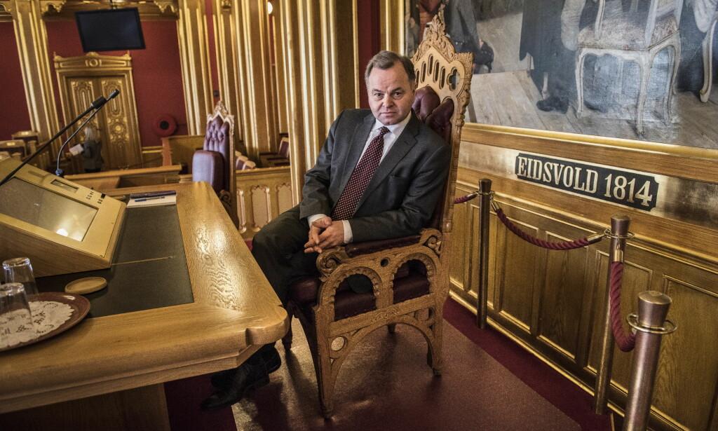 STORTINGSPRESIDENT: Stortingspresident Olemic Thommessen (H) har måttet tåle mye kritikk for byggesprekken på Stortinget. Foto: Lars Eivind Bones / Dagbladet