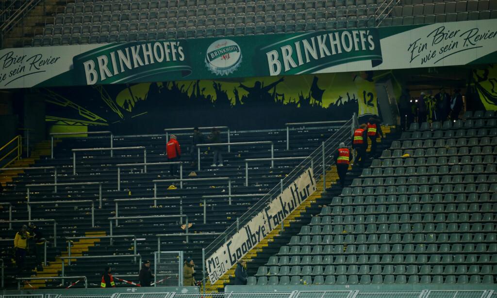 PROTEST: Borussia Dortmund-fansen protesterte mot mandagskamper. Foto:  REUTERS/Leon Kuegeler/NTB Scanpix